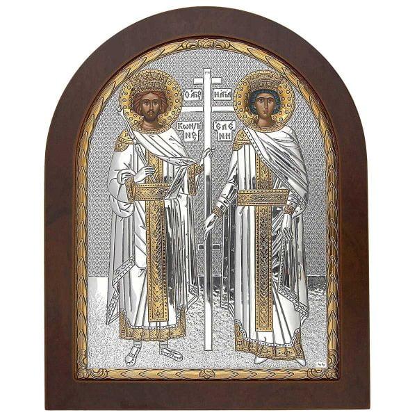 1395 icoana sfintii imparati constantin si elena foita argint