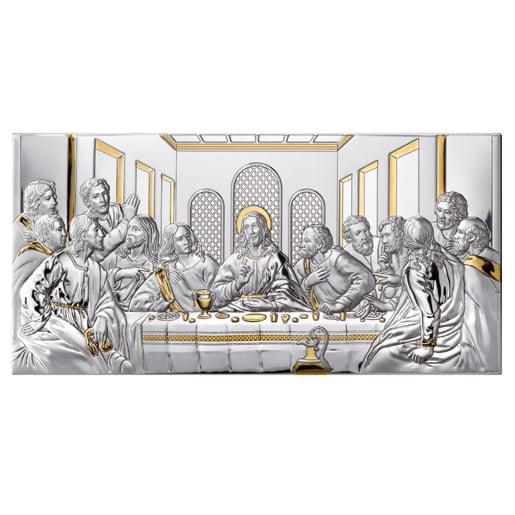 2821 icoana argint 50x24.5 cm cina cea de taina auriu