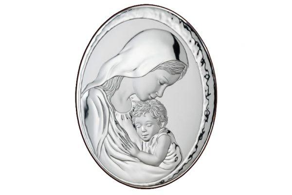 icoana argint 9x13cm maica domnului cu pruncul 258 552213 1