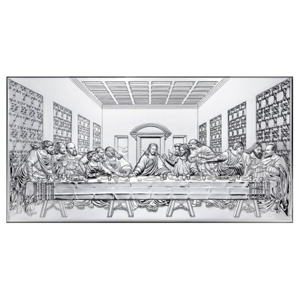 icoana argint cina cea de taina 17x8cm argintiu 755 7724 1