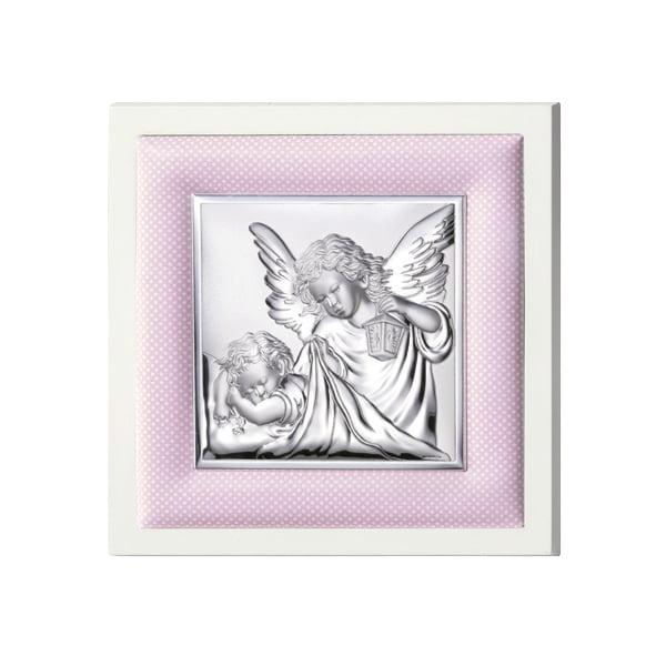 icoana argint ingerul pazitor 20x20cm roz 778 5316 1