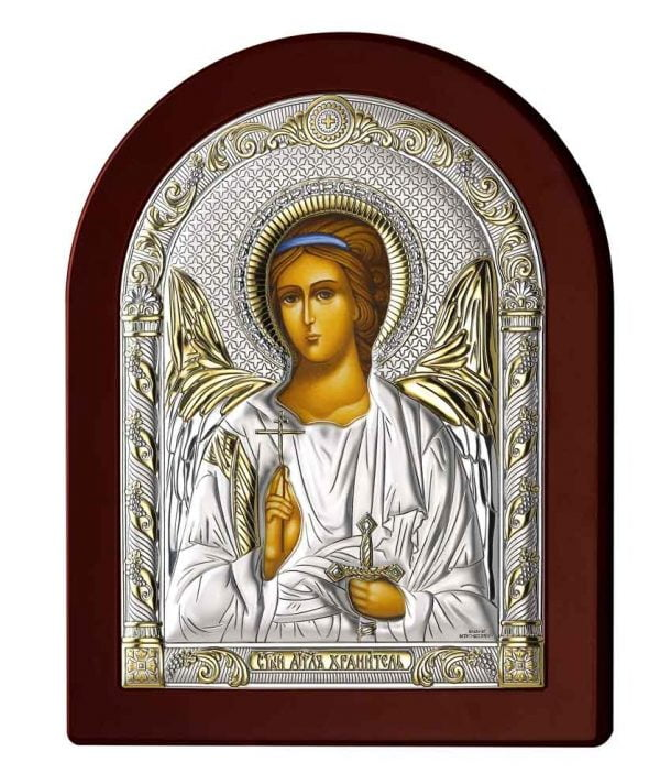 icoana argint ingerul pazitor auriu 15x20cm 181 445813 1