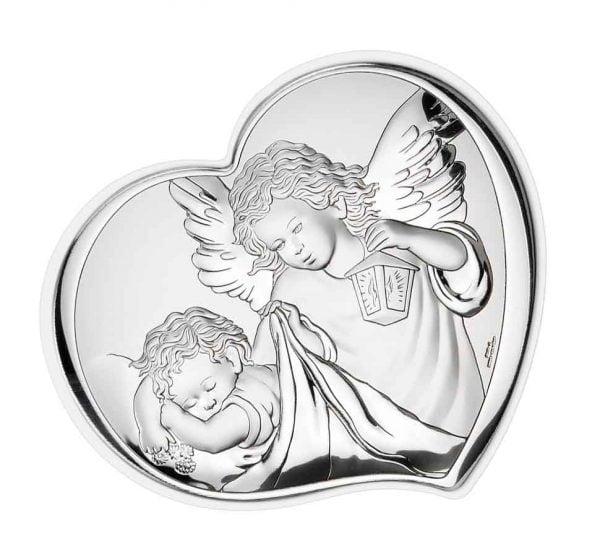 icoana de argint ingerul pazitor 6 5 7 5cm 140 7852 1
