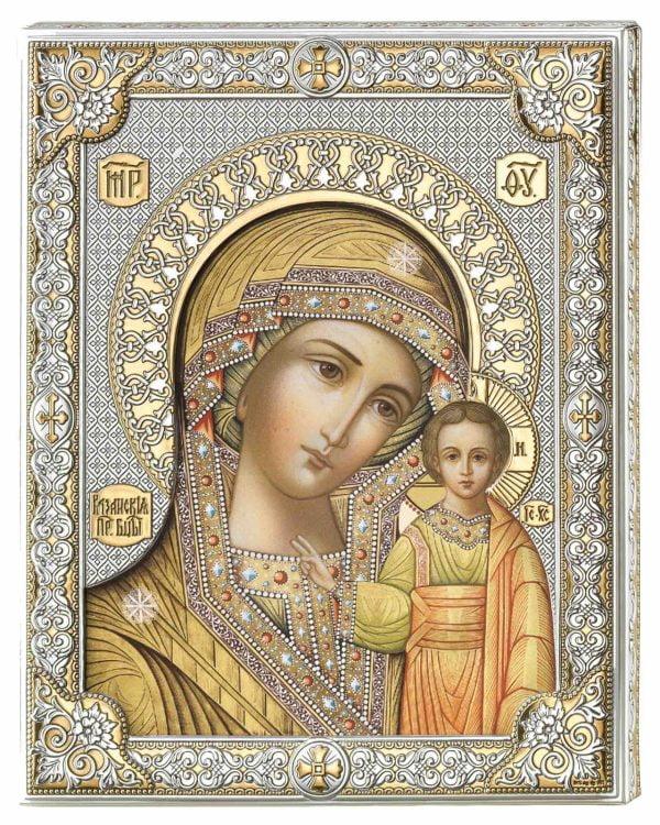 icoana maica domnului de la kazan pe foita de argint 925 cu auriu color 12x15 5cm 54 827938 1