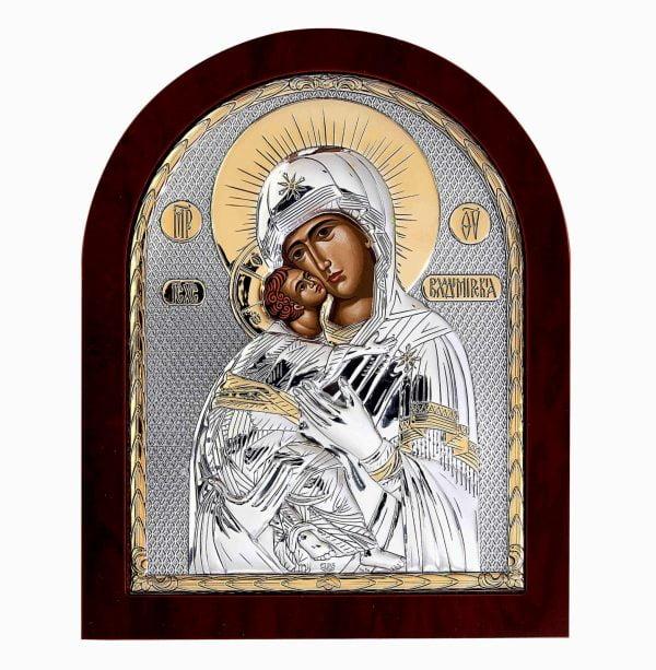 icoana maica domnului vladimir pe foita argint 925 si aur 11x13cm 80 830558 1