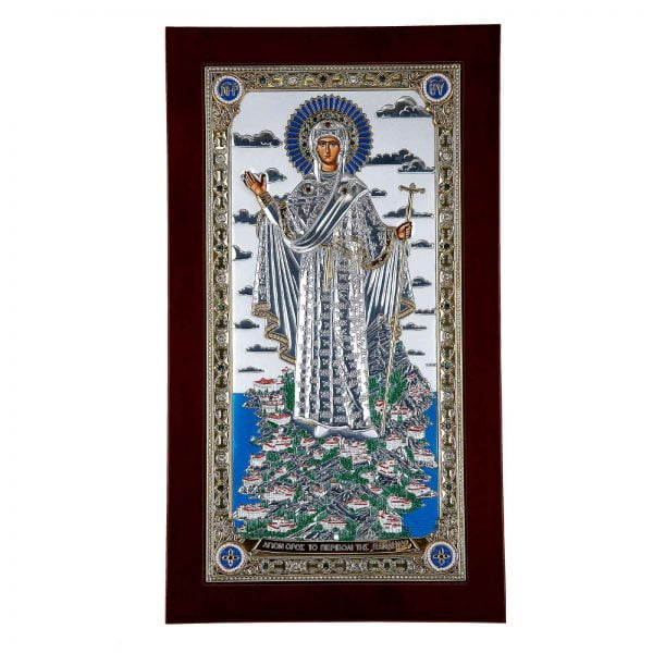 maica domnului de la athos icoana din argint 925 130x80mm 160 9992 1