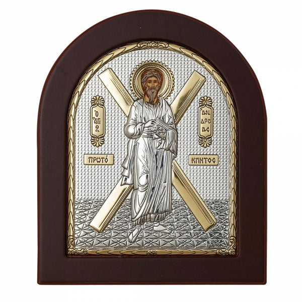 sfantul andrei apostolul romanilor icoana argintata 130x110mm 121 3407 1