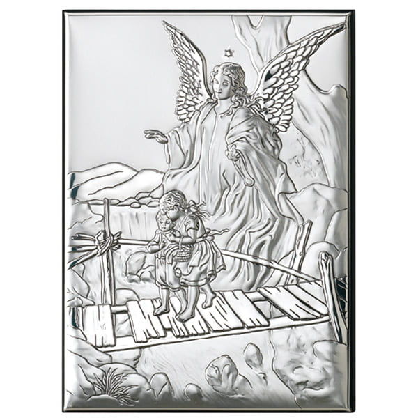 3151 icoana argint ingerul pazitor 2x18cm argintiu