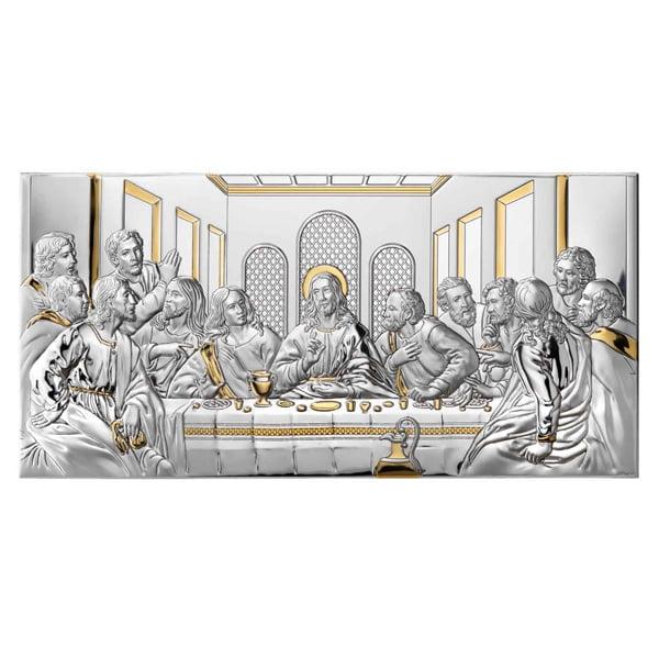 3155 icoana argint cina cea de taina 2x20cm auriu