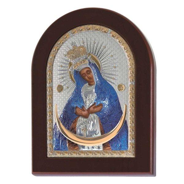 1508 maica domnului ostrobramskaya foita de argint 925 14x10cm color