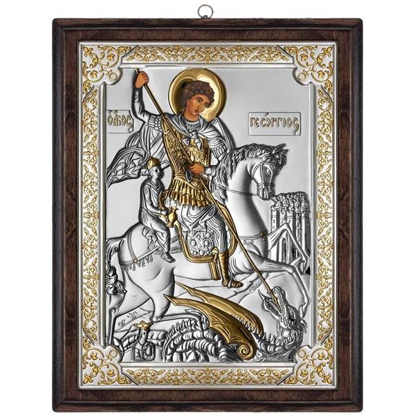 3212 icoana argint sfantul gheorghe 17x21.5cm auriu
