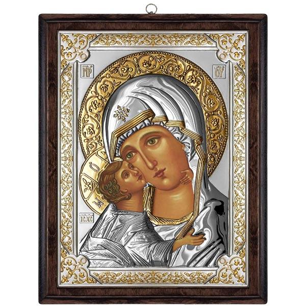 3241 icoana argint maica lui vladimir 12x15cm auriu